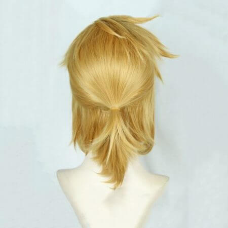 The Legend of Zelda: Breath of the Wild Link Short Golden Blonde Pony tail Hair Cosplay Costume Wig Heat Resistance Fibre + Ears 3