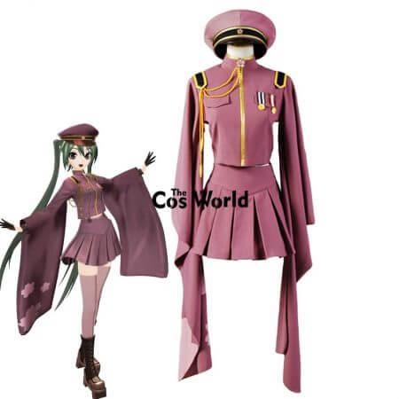 Vocaloid Hatsune Miku Senbonzakura Kimono Uniform Dress Outfit Anime Cosplay Costumes Whole Set