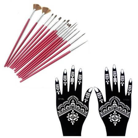 15PCS Face Body Paint Brushes With Henna Stencils Set Professional Nylon Hair Painting Nail Brush For Body Art Tattoo Templates 1