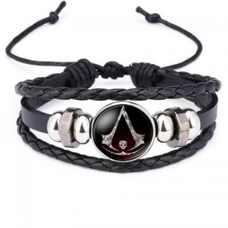 Fashion Assassins Creed Bracelet Time Gem Glass Weaving Leather Bangle Lace-up Generous Simple Jewelry Cute Gifts for Children 1