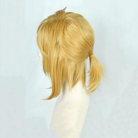 The Legend of Zelda: Breath of the Wild Link Short Golden Blonde Pony tail Hair Cosplay Costume Wig Heat Resistance Fibre + Ears 2