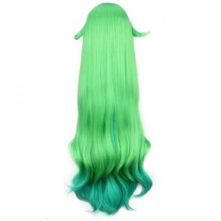 ccutoo 100cm Green Blue Mix Curly Long Synthetic Wig LOL Lulu Soraka Star Guardian League of Legends Cosplay Costume Wigs Hair 3
