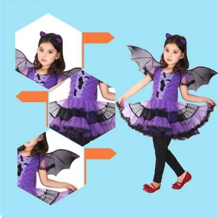 90-160cm Girls Halloween Purple Bat Vampire Princess Dress Wing Headband Cosplay Costume Kids Sets Scary Clown Witch Clothes 4