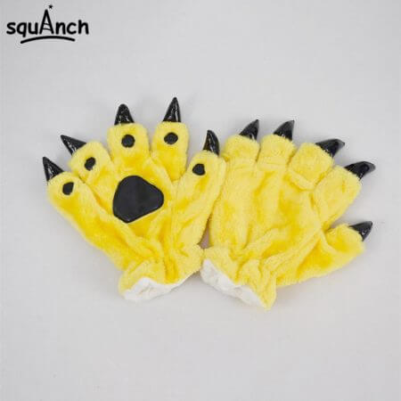 Kigurumi Animal Gloves Paw Dinosaur Bear Cat Finger Claw Winter Windproof Warm Funny Cute Fluffy Halloween Party Performance 4