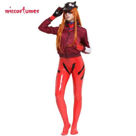 Asuka Langley Sohryu Cosplay Costume Red Bodysuit Jumpsuit Coat Jacket Hat Woman Outfit 2