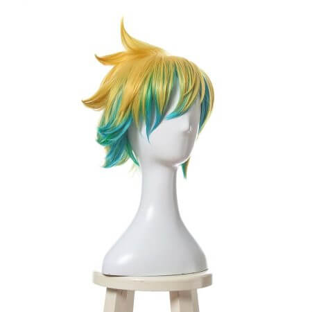 L-email wig New Arrival Game LOL Ezreal Character Cosplay Wigs 30cm Short Heat Resistant Synthetic Hair Perucas Cosplay Wig 1