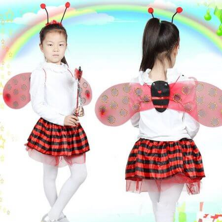 4 Piece Sets Halloween Christmas Bee Ladybug Costumes for Kids Girls Cute Party Fancy Dress Cosplay Wings+Tutu Skirts Yellow Red 2