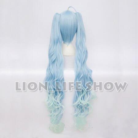 VOCALOID 2017 Snow Miku Hatsune Star Princess Long Blue Curly Wavy Cosplay Wig 1