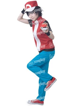 Anime Game Trainer Red Cosplay Costume With Hat And Wristguards Included - Ash Ketchum Cosplay Outfit