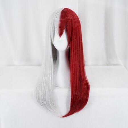 My Hero Academia Todoroki Shoto Women Long Wig Cosplay Costume Boku no Hero Academia Red and White Hair Halloween Party Wigs 2