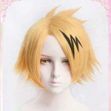 High Quality Kaminari Denki Wigs My Hero Academy Heat Resistant Synthetic Hair Cosplay Costume Wig + Wig Cap