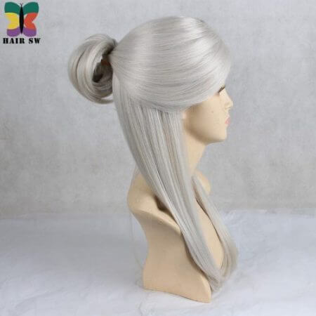 HAIR SW Long Straight Synthetic Hair Game Witcher Cosplay Wigs Silver Gray braid with bun wig For cosplayer 1