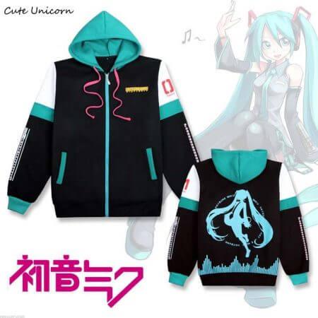 2019 Hatsune Miku hooded Sweatshirt outwear Coat women clothing cosplay costume girls clothes spring zipper coats and jackets