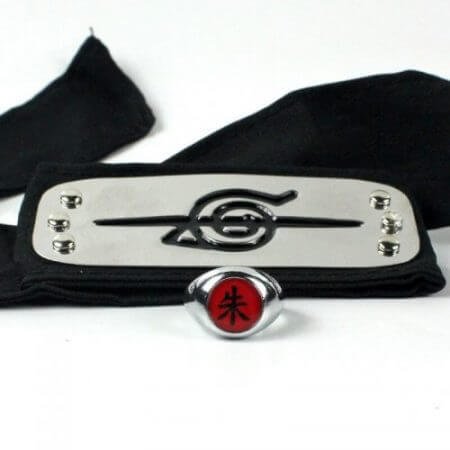 Anime Naruto Akatsuki Cloak Cosplay Costume Uchiha Itachi Ring Headband Women Men Gifts 3