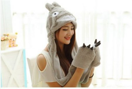 Cosplay Pikachu Totoro Pokemon Go Faux Fur Full Hood Kids Hat with Long Scarf Mittens Gloves Christmas Gift For Women Children 1
