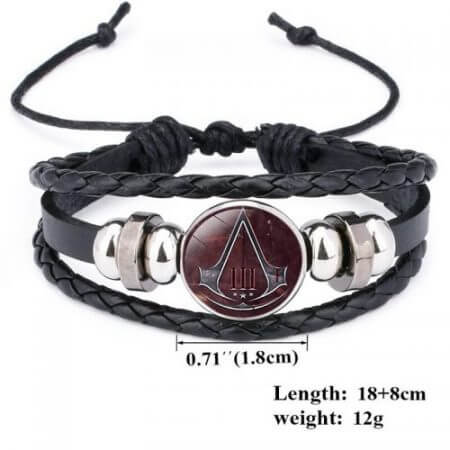 Fashion Assassins Creed Bracelet Time Gem Glass Weaving Leather Bangle Lace-up Generous Simple Jewelry Cute Gifts for Children 5