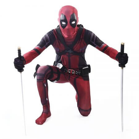 COSFANS 2018 Deadpool Costume Adult Man Spandex Lycra Zentai Bodysuit Halloween Cosplay Suit Belt Headwear Mask Sword holster 1