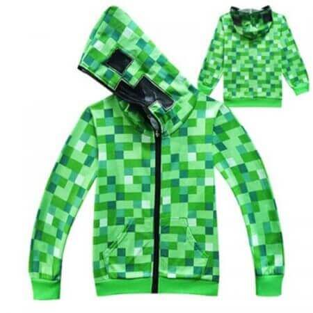 kids Boys Girls Winter Outwear Minecrafters Cartoon  Clothes Sweatshirts Long Sleeve Christmas Shirt Game Creeper Cosplay Jacket