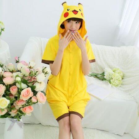 Anime pajamas Pikachu men/women adult kids short sleeve cotton cartoon pajamas summer Unisex Pokemon Cosplay Kigurumi costume 2