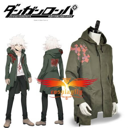 In Stock Super Danganronpa 2 Nagito Komaeda Nagito Army Green Color Jacket Hoodies ONLY Cosplay Costume Custom with Real Pockets