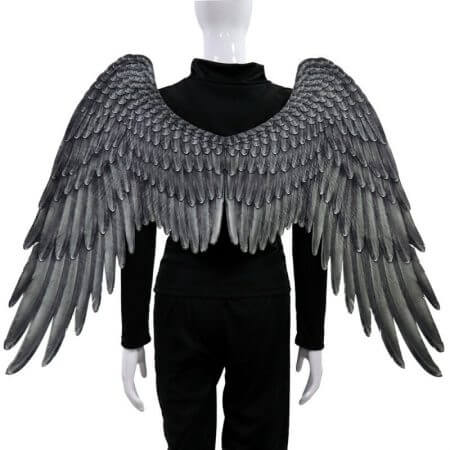 Halloween 3D Angel Wings Mardi Gras Theme Party Cosplay Wings For Children Adult Big Large Black Wings Devil Costume 2