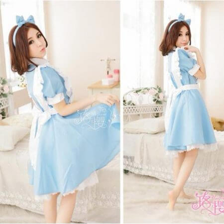 Halloween Women Adult Anime Alice In Wonderland Blue Party Dress Alice Dream Women Sissy Maid Lolita Cosplay Costume 1