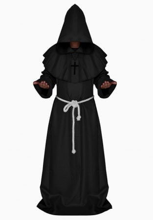 Monk Hooded Robes Cloak Cape Friar Medieval Renaissance Priest Men Robe Clothes Halloween Comic Con Party Cosplay Costume 1