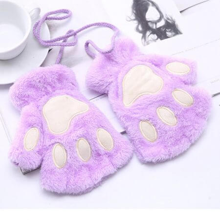 1 Pair Women Girls Lovely Fluffy Bear Cat Plush Paw Claw Half Finger Gloves Mitten Winter Warm Fingerless Gloves Xew 3