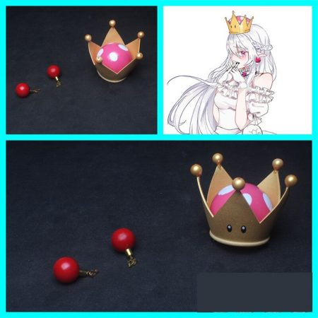 New Bowsette Kuppa Koopa Hime Princess Cosplay Womanize Crown Earrings Horns Hairpiece Headwear Halloween Costume Props Handwork 1