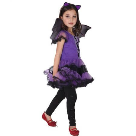 90-160cm Girls Halloween Purple Bat Vampire Princess Dress Wing Headband Cosplay Costume Kids Sets Scary Clown Witch Clothes 2