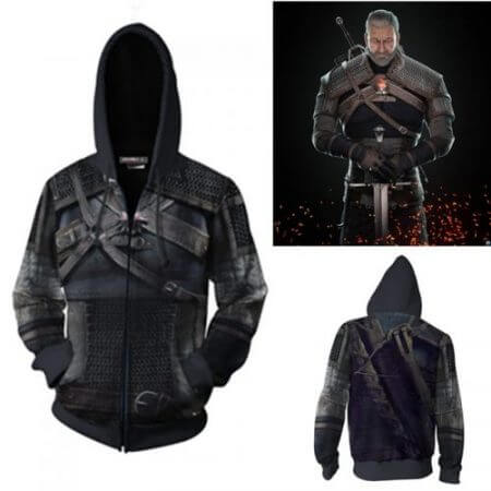 Wild Hunt Geralt of Rivia Cosplay Costumes Geralt of Rivia Hoodie Jackets Cosplay 3D printing Zip Hoodie Sweatshirts