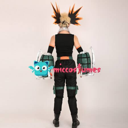My Hero Academia Katsuki Bakugo Kacchan Cosplay Costume Fullset Hero Suit with Mask and Gauntlets 3
