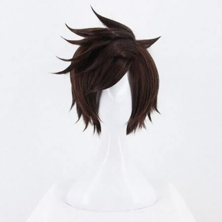 Game OW Overwatch Tracer Short Brown Cosplay Wig Synthetic Halloween Costume Party Stage Play Brown Hair Wigs 1