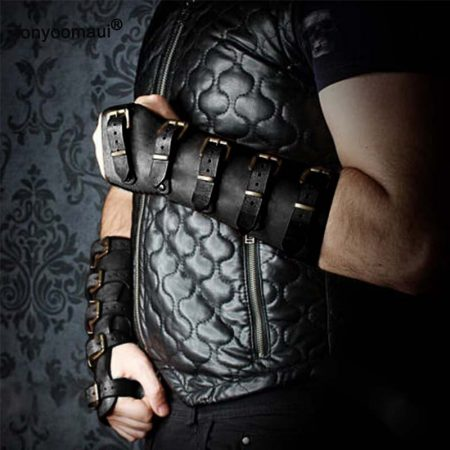 Adult Men Medieval Warrior Larp Knight leather Arm Bracer with Buckle Armor Rivet Steampunk Archer Gauntlet Cosplay Costume Gear 5