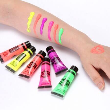 5 pcs Body Art Paint Neon Fluorescent Party Festival Halloween Cosplay Makeup Kids Face Paint UV Glow Painting 4