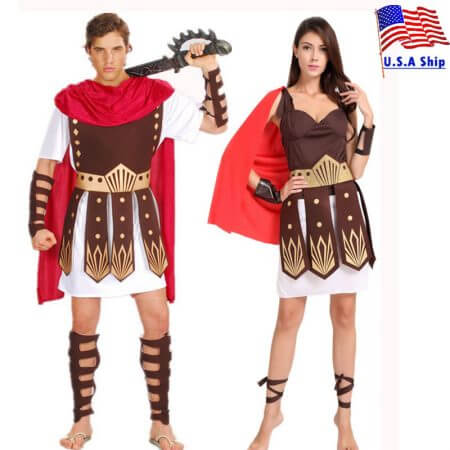 Umorden Halloween Purim Adult Ancient Roman Greek Warrior Gladiator Costume Knight Julius Caesar Costumes for Men Women Couple