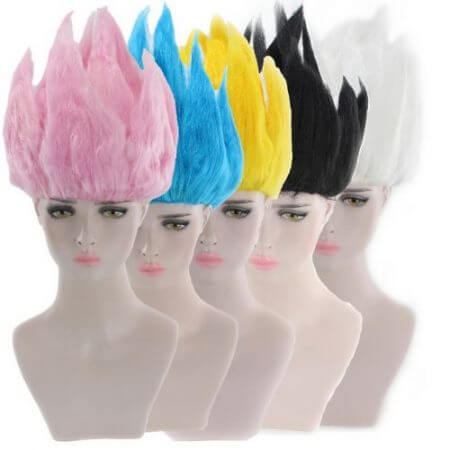 Cheap Son Goku Kakarotto Dragon Ball Cosplay Wig Black White Yellow Blue Pink Short Party Costume Wigs For Women And Men