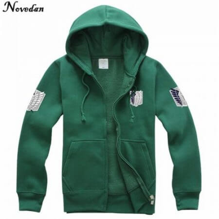 Novedan Anime Attack On Titan Cosplay Costumes Hoodie Green Black Scouting Legion Hooded Jacket For Women Men 2