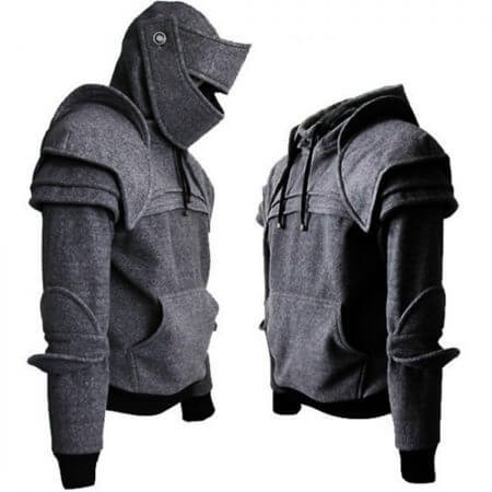 Vintage Medieval Knight Men Hoodies Warrior Soldier Hooded Sweatshirt Male Mask Armor Pullover Cosplay Costume Plus Size Tops 3