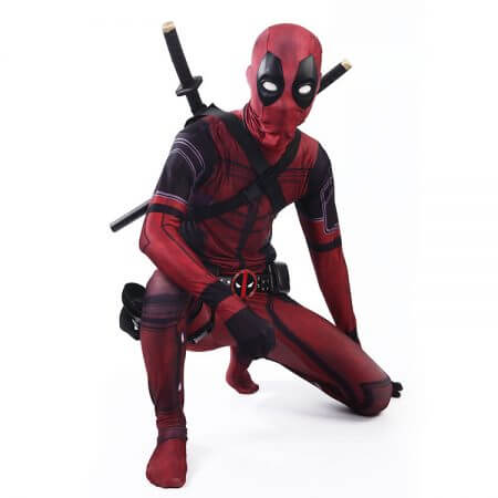 COSFANS 2018 Deadpool Costume Adult Man Spandex Lycra Zentai Bodysuit Halloween Cosplay Suit Belt Headwear Mask Sword holster 4