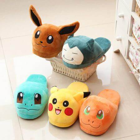 Winter lovely Home Slippers Cartoon Pokemon Warm Shoes Women Cosplay Unisex Cartoon Cotton slippers shoes