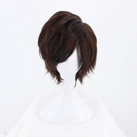Game OW Overwatch Tracer Short Brown Cosplay Wig Synthetic Halloween Costume Party Stage Play Brown Hair Wigs 4