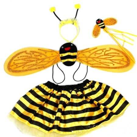 4 Piece Sets Halloween Christmas Bee Ladybug Costumes for Kids Girls Cute Party Fancy Dress Cosplay Wings+Tutu Skirts Yellow Red
