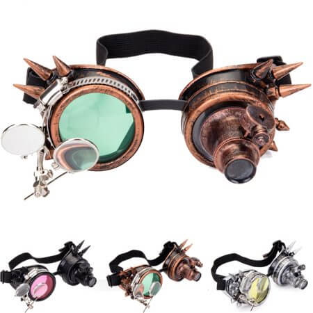 FLORATA Rivet Goggles Men Women Steampunk Vintage Round Sun Glasses Gothic Goggles Vintage Retro Punk Sunglass 2