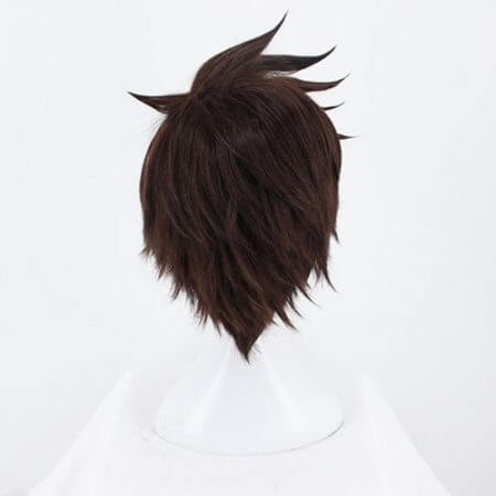 Game OW Overwatch Tracer Short Brown Cosplay Wig Synthetic Halloween Costume Party Stage Play Brown Hair Wigs 3