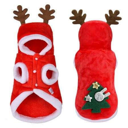 Christmas Cat Clothes Small Dogs Cats Santa Costume Kitten Puppy Outfit Hoodie Warm Pet Dog Clothes Clothing Accessories 3