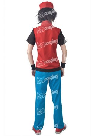 Anime Game Trainer Red Cosplay Costume With Hat And Wristguards Included - Ash Ketchum Cosplay Outfit 5