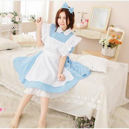 Halloween Women Adult Anime Alice In Wonderland Blue Party Dress Alice Dream Women Sissy Maid Lolita Cosplay Costume 3