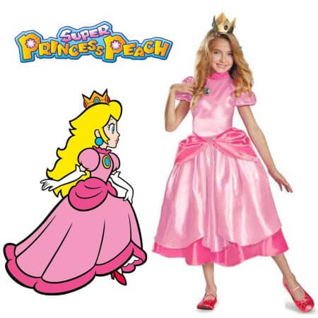 Little Princess Peach Costume Super Mario Brothers Princess Cosplay Classic Game Mario Costume Kids Girl Halloween Fancy Dress