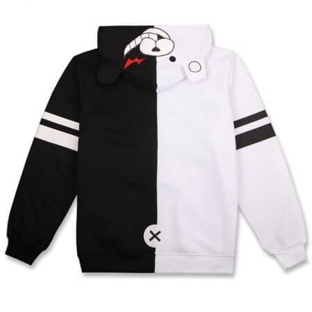 Anime Danganronpa Monokuma Cosplay Costume Unisex Hoodie Sweatshirt Hooded Black White Bear Long Sleeve daily casual coat Jacket 5